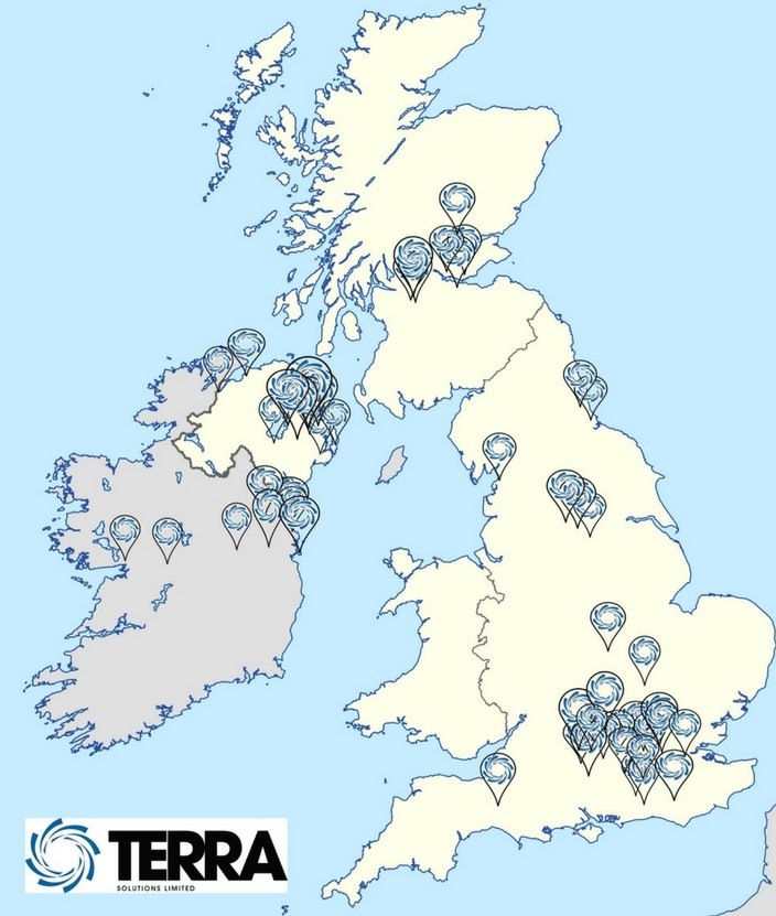 Terra Job Map - Auger Boring, Shaft Sinking, Pipejacking, Microtunnelling, Timberheading, Directional Drilling UK United Kingdom Ireland