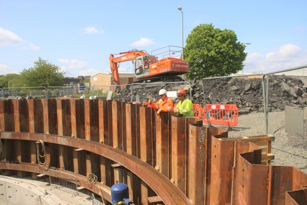 Engineers working at the bottom of the pit on our shaft sinking project at Avonspark Street 6